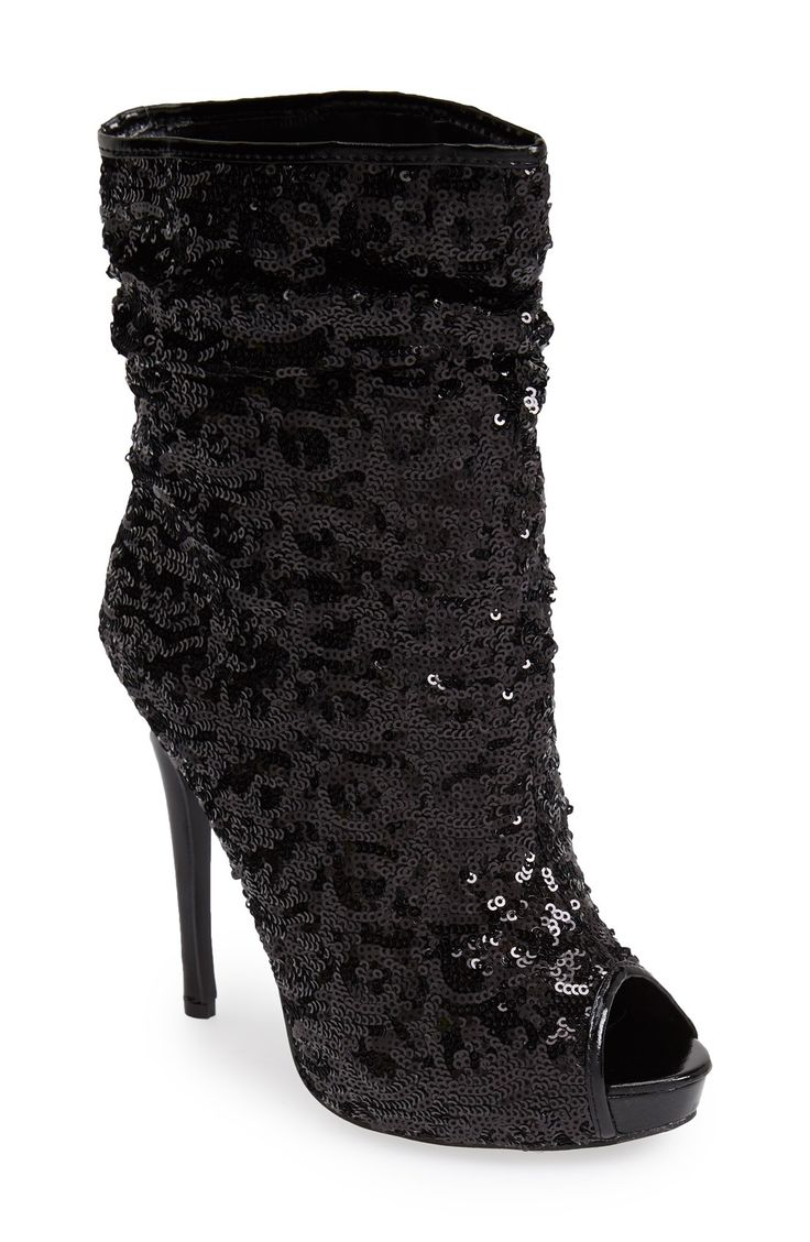 Excited to show off these black sequin peep toe booties!