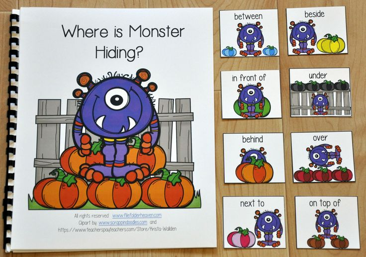 """""""Where is Monster Hiding?"""" is a pumpkins themed or Halloween themed adapted book that teaches prepositions or positional words and reinforces colors and color words.   In this activity, the teacher or therapist reads the story as the students identify the monster's position in relation to the colored pumpkin or pumpkins on each page. Students will match a position or preposition card to each page as the teacher reads. Students working independently can work through the book in a literacy…"""