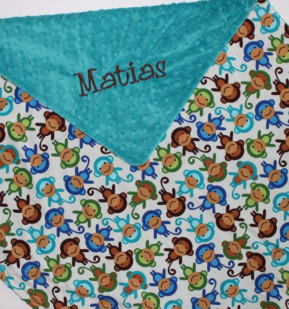 PERSONALIZED Baby Boy Blanket in Monkeys and Teal Minky Stroller Blanket on Etsy, $19.26 CAD