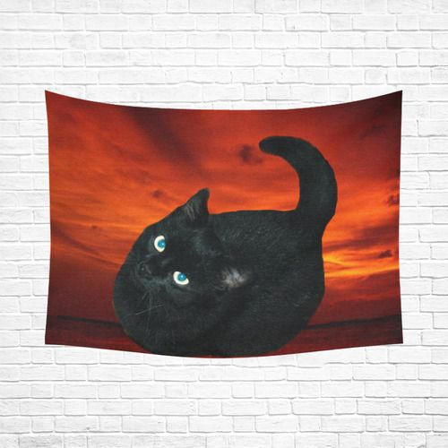 """Black Cat Cotton Linen Wall Tapestry 80""""x 60"""""""