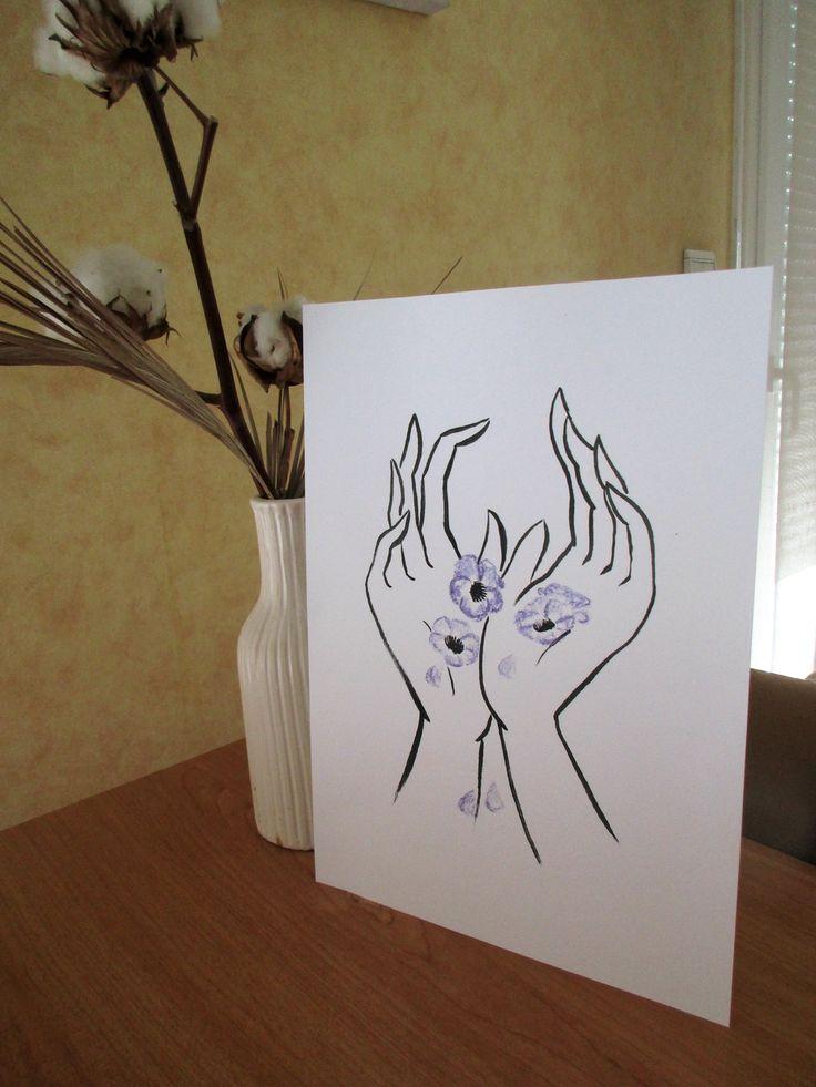 Cascade de pétales  Illustration en impression limitée  Une cascade de pétales violets pour adoucir vos murs.  Impression originale à l'encre de chine et pastels