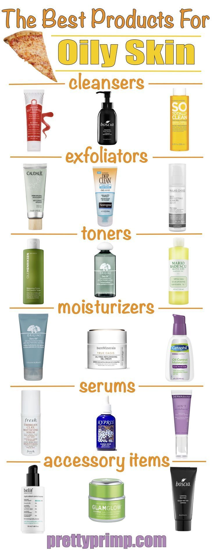 Skincare for oily skin, including the best drugstore and high end products, specifically, cleansers, exfoliators, toners, moisturizers, serums, and more for oily skin!