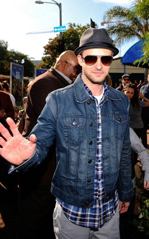 Justin Timberlake sporting the denim trend in a William Rast Denim Jacket.