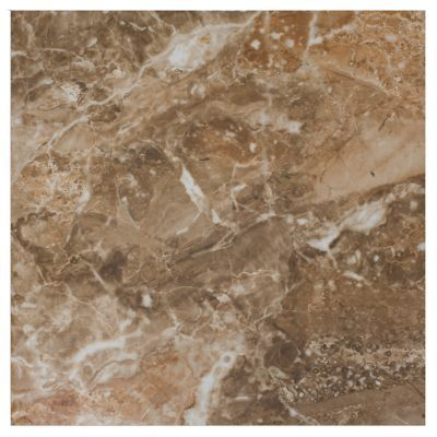 this ceramic tile has a glossy finish with chocolate and caramel shades that give the appearance