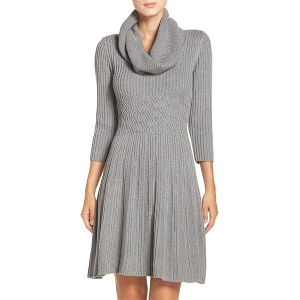 Petite Women's Eliza J Fit & Flare Sweater Dress (£65) ❤ liked on Polyvore featuring dresses, grey, petite, gray sweater dress, cable knit turtleneck, gray dress, fit and flare sweater dress and turtleneck sweater dress