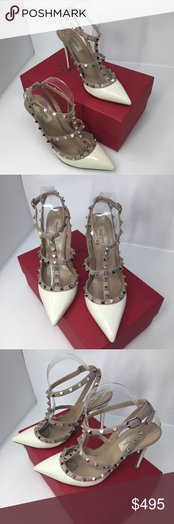 Valentino Ivory & Poudre Rockstud T Strap Heels Beautiful pair!!! I just had the soles and heel points reconditioned. Sale includes the Valentino box shown. Size 39.5. Valentino Shoes Heels