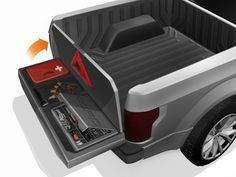 """Ford designers considered building storage into the space between the walls in the tailgate for tools or a first-aid kit, much as Chrysler's Ram has done in truck sides with its """"Ram Box."""""""