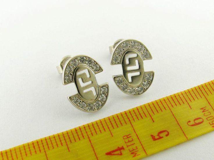 versace 925 Sterling Silver Greek Stud Earrings Oval  #New #Stud