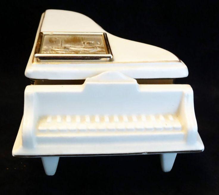 Grand Piano Trinket Box Italy Porcelain Metal Seascape Plaque Signed Hanka Vtg