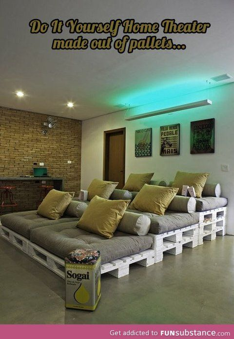 home theater out of pallets, how clever!