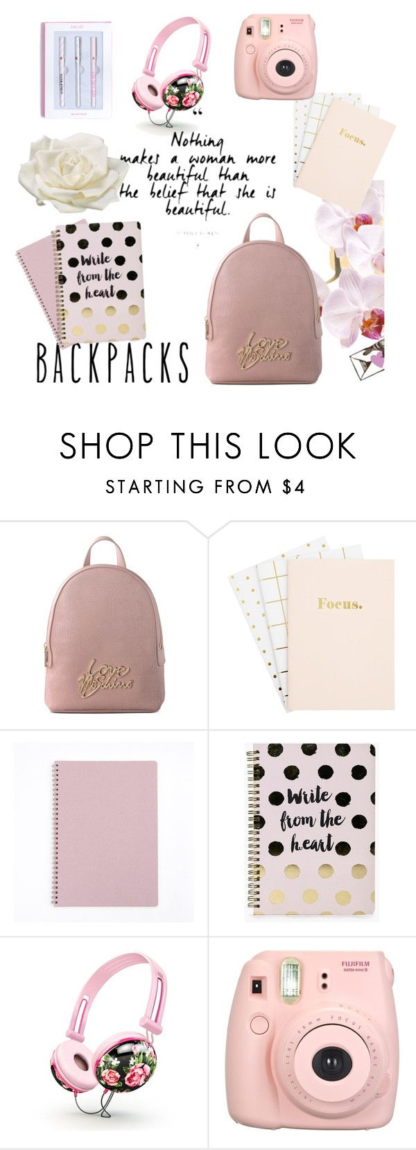 """""""What is in my bag✌"""" by vusalabagirova ❤ liked on Polyvore featuring Love Moschino, Boohoo, Fujifilm, Allstate Floral, backpacks, contestentry and PVStyleInsiderContest"""
