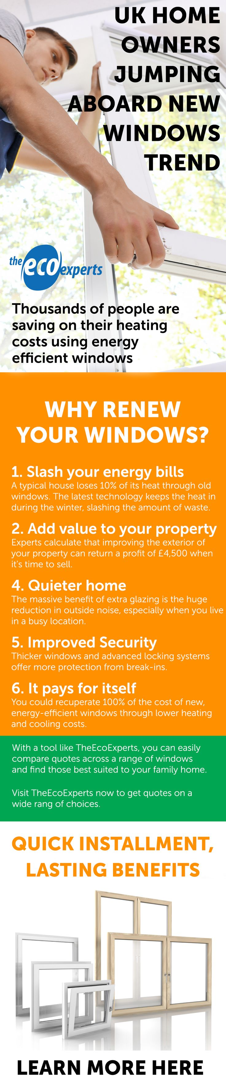 UK Home Owners Jumping Aboard New Windows Trend. Every day, homeowners are left paying unjust energy bills simply to heat their own homes. Even worse, so much of this energy is wasted; 18% of heat loss comes from windows, and just switching to double-glazed windows could save people thousands of pounds on energy bills in the long-term. Find out more here.