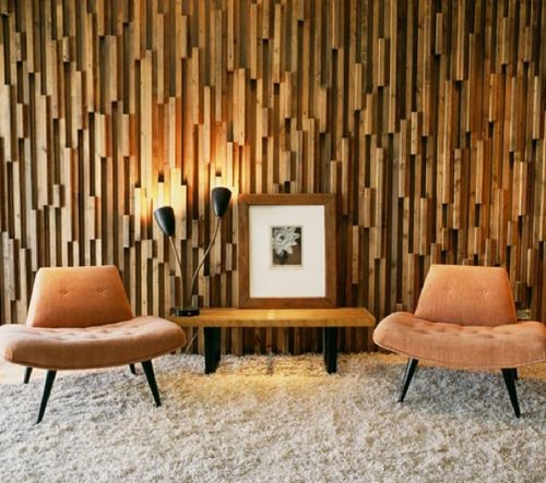 Mid Century Modern Living Room Textured Wooden Walls Acoustic Wall Treatment
