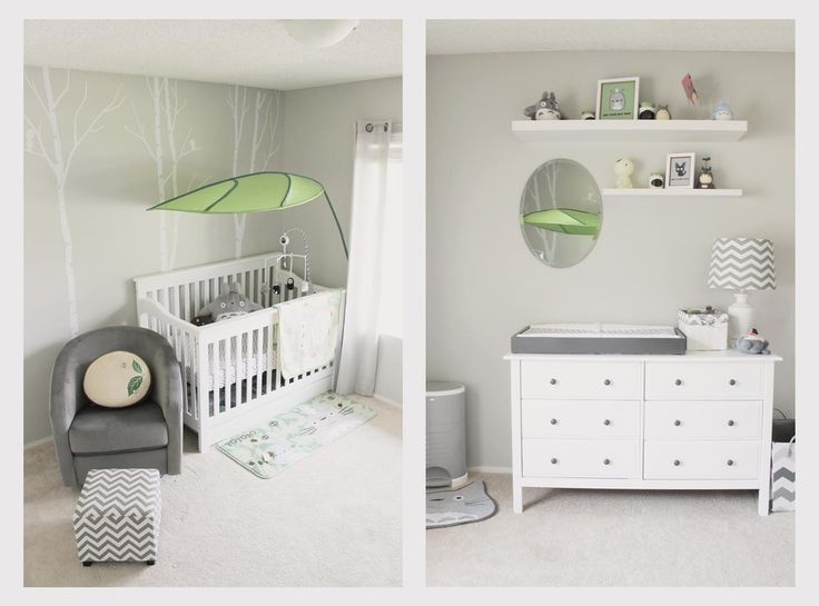 4 in 1 convertible crib Spaces Modern with baby chevron gray green grey Miyazaki Nursery small bedroom totoro woodland