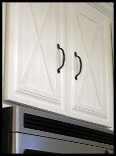 beadboard wallpaper added to cabinets...barn x ! Love this and the handles!!