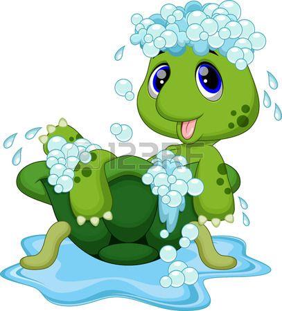 Ba o lindo de la tortuga en el caparaz n Foto de archivo