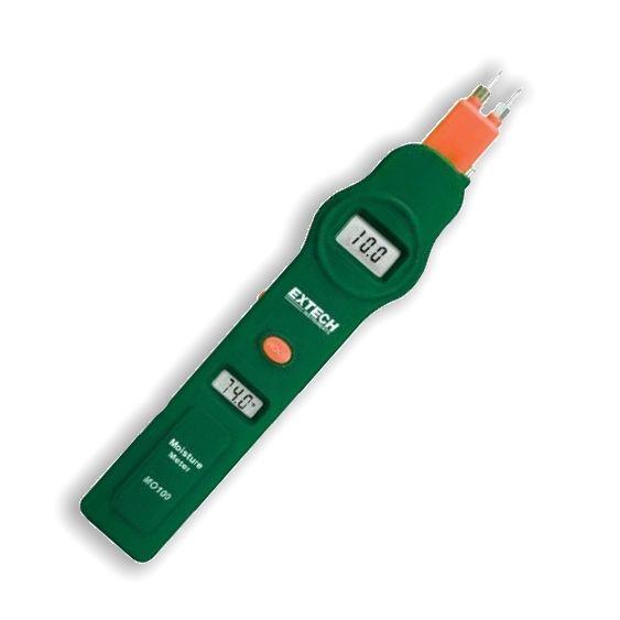 http://www.termometer.se/Extech-Fuktmatare-med-kontaktstift-och-temperaturmatning-MO100.html  Extech Fuktmätare med kontaktstift och temperaturmätning MO100 - Termometer.se  2 LCD-displayer som visar fuktkvot i materialet samt lufttemperatur samtidigt  Fukt innehåll materialet visas som fuktkvot Flyttbara stift som kan vikas in för säker förvaring. Stiften är utbytbara Lätt att använda (ON/OFF, Test och kalibrering) Data kan frysas på display Kalibreringsjustering för bättre...