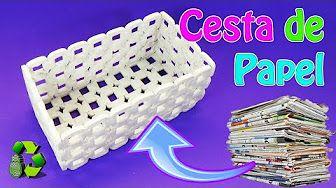 Cómo hacer cestas de papel periodico. How to make basket paper - YouTube