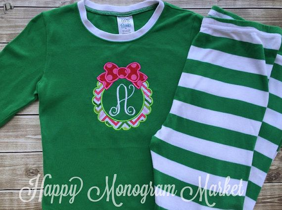Monogrammed Christmas pajamas Xmas pjs with by HappyMonogramMarket