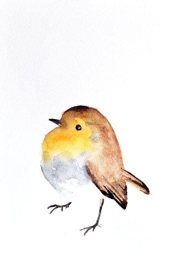Robin   ORIGINAL Watercolor painting / Bird art/ by ArtCornerShop, $40.00