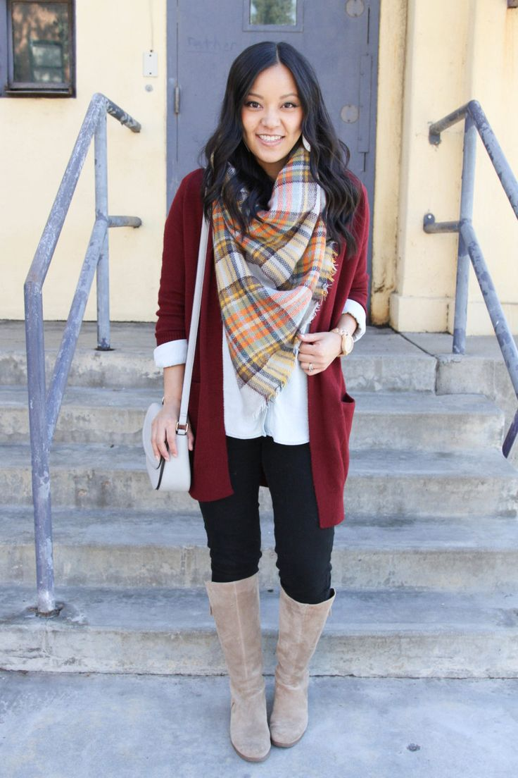 Maroon Cardigan and Blanket Scarf Outfit