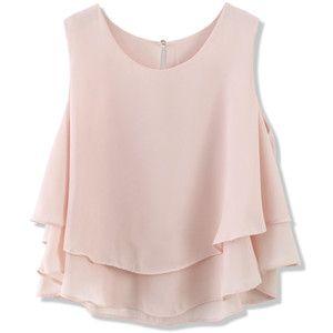 Chicwish Layered Chiffon Crop Top in Pastel Pink
