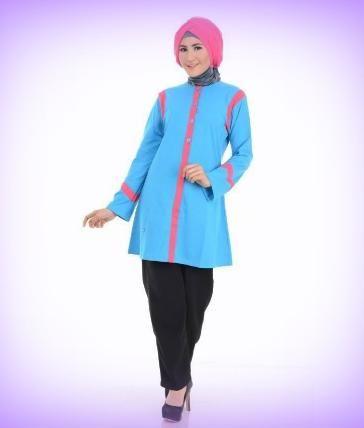 Beli Baju Atasan Wanita Tunik ALNITA AA01 BIRU dari Aprilia Wati agenbajumuslim - Sidoarjo hanya di Bukalapak