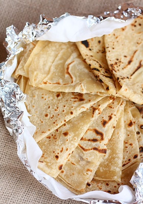 12-14 roti 2 cups flour salt to taste 1 Tbsp oil Milk and Water to make dough (~ 1.5 cups total).
