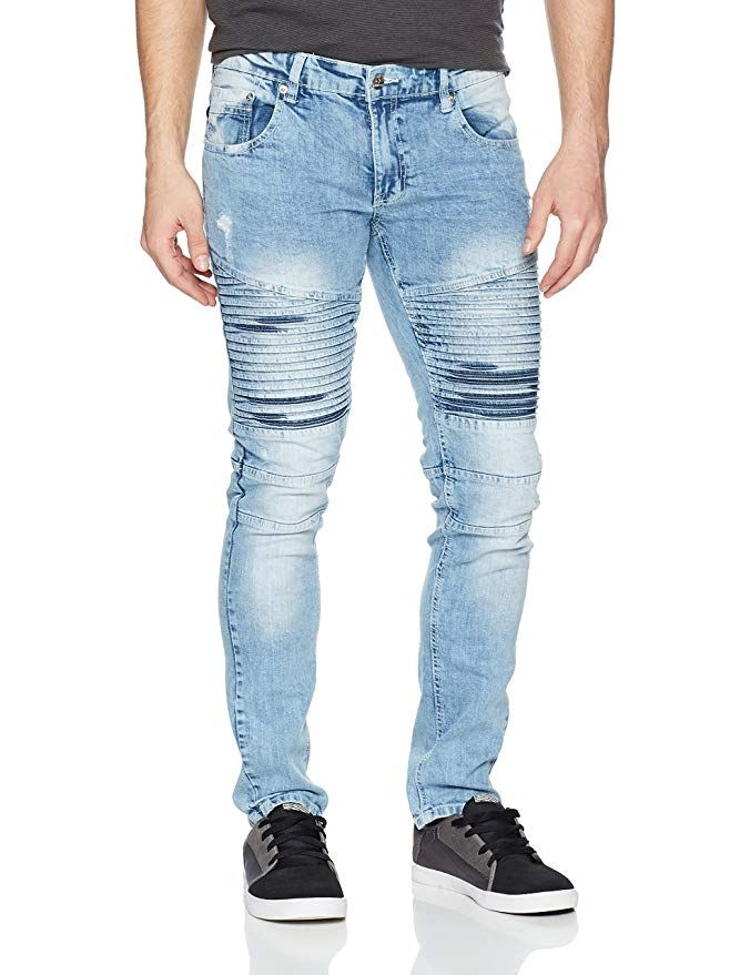 Southpole Mens Super Skinny Biker//Moto Denim Pants Jeans
