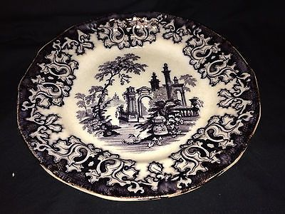 "ANTIQUE FLOW BLACK MULBERRY TRANSFERWARE ATHENS CHARLES MEIGH 9.25"" PLATE"