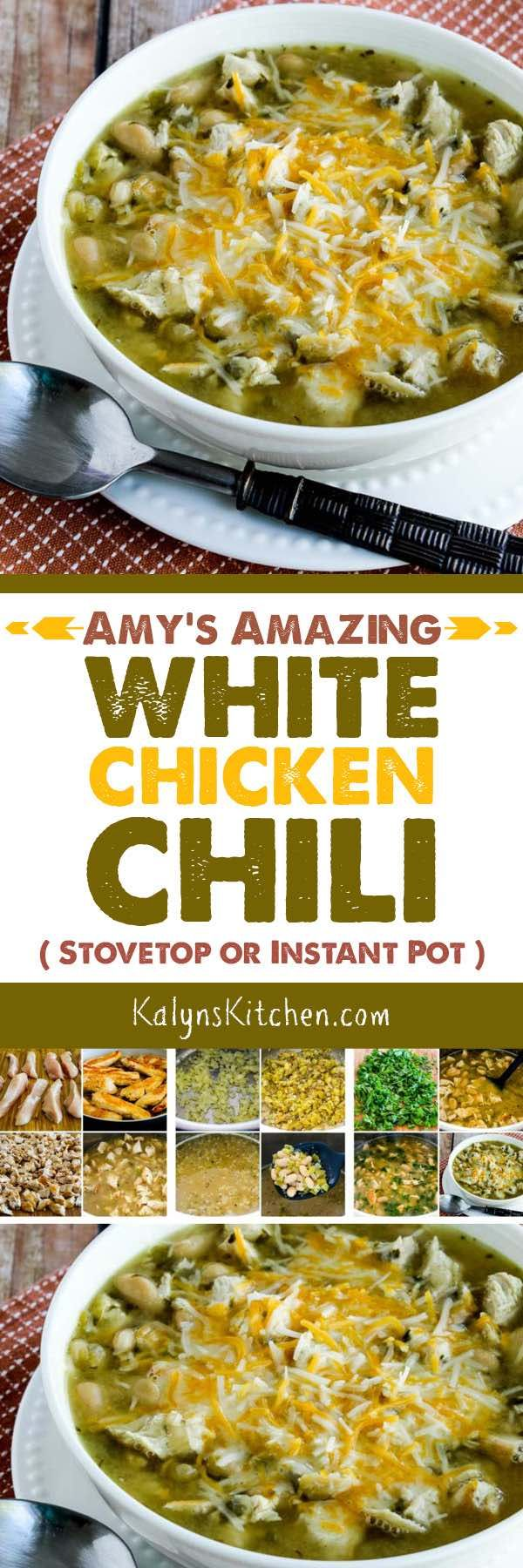 Amy's Amazing White Chicken Chili is so delicious whether you make it on the Stovetop or in the Instant Pot, and you can also use leftover turkey in this delicious chili if you're lucky enough to have some! [found on KalynsKitchen.com] #WhiteChickenChili #InstantPotWhiteChickenChili #StovetopWhiteChickenChili
