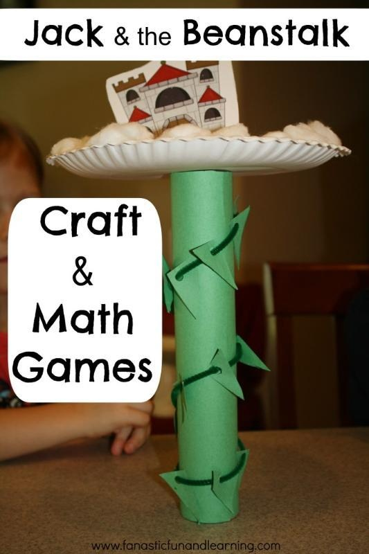 Jack & the Beanstalk Craft and Math Game where children practice their fine motor skills, counting skills, as well as learn about balance and capacity.
