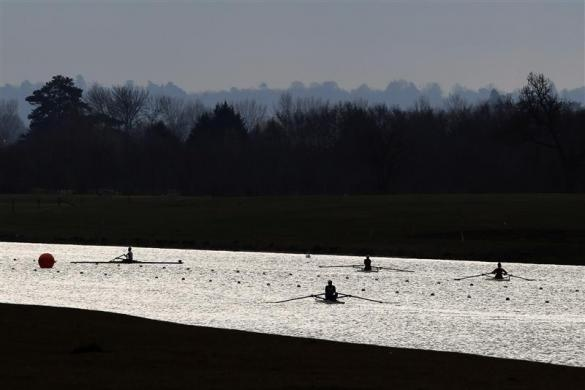 British rowers prepare before the GB Rowing Team Senior Trials at the Olympic rowing venue in Eton-Dorney near London March 11, 2012.   REUTERS/Stefan Wermuth