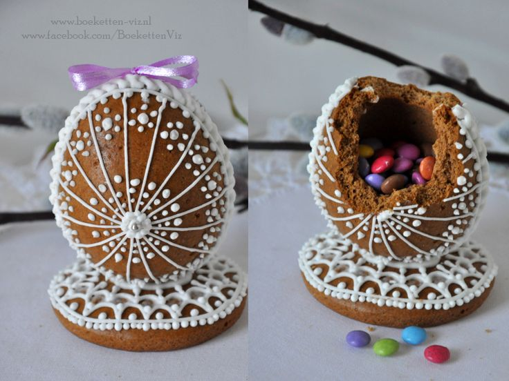 Gingerbread egg filled with smarties