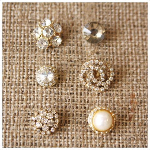 Rhinestone on Gold Button Set | A Gilded Life