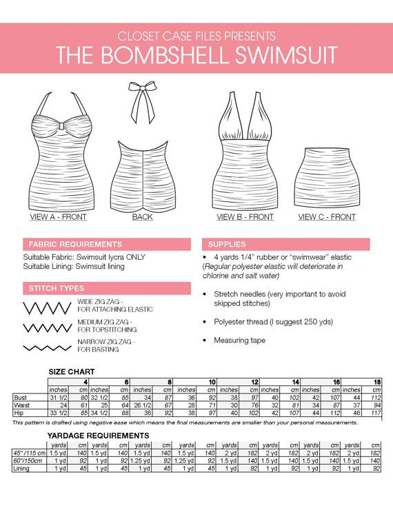 Bombshell swimsuit / bathing suit PDF Pattern. par ClosetCaseFiles