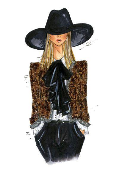 Grabado de la ilustración de moda Saint Laurent primavera por anumt