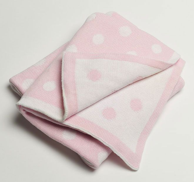 Jiggle and Giggle Spot Cotton 70x90cm Blanket Pink