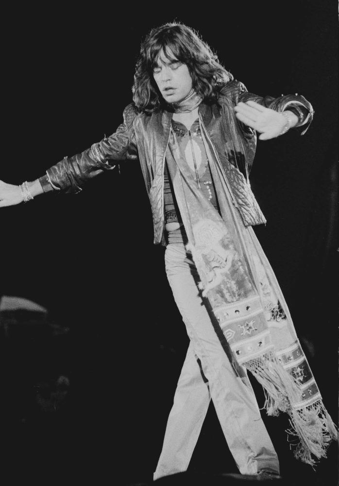 Mick Jagger of the Rolling Stones performing at Knebworth, UK 1976 - photo by Michael Putland
