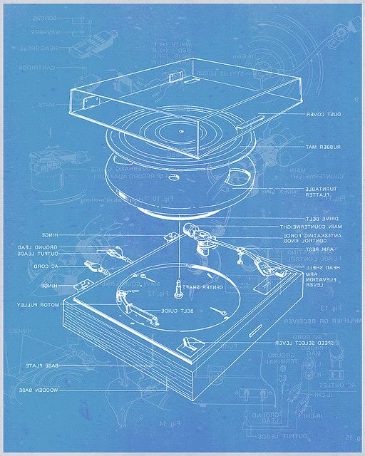 13 best blueprints images on pinterest technical drawings blueprints of a vinyl record player turntable malvernweather Choice Image