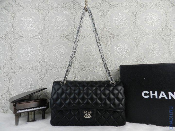 Сумка Chanel из натуральной кожи на цепочке с серебристой отделкой