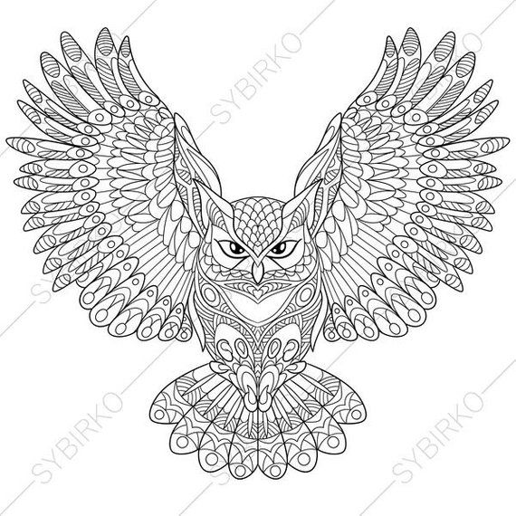 Coloring Page For Adults Digital Coloring Page Owl Etsy In 2020 Owl Coloring Pages Animal Coloring Books Animal Coloring Pages