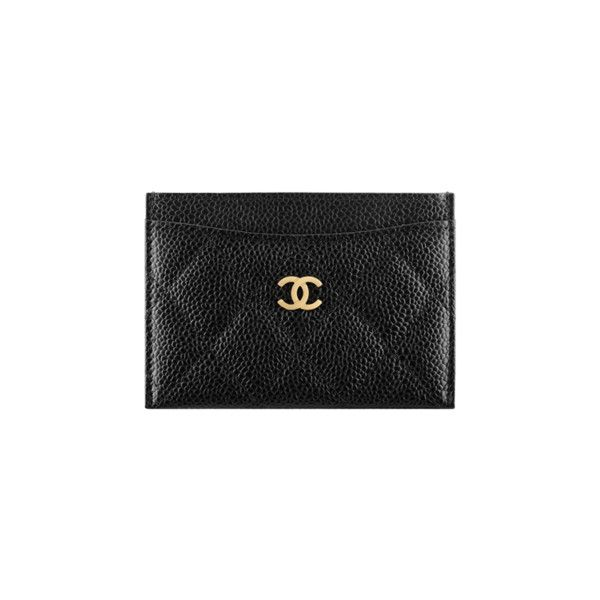 b7230b516efa Classic card holder, grained calfskin & gold-tone metal-black &... ❤ liked  on Polyvore featuring bags, wallets, chanel, calf leather wallet, calfskin  bag, ...