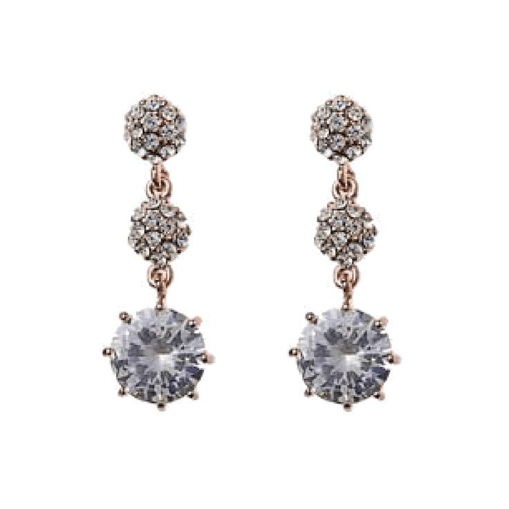 Jeminee Jewellery London Lottie Rose gold crystal drop earrings