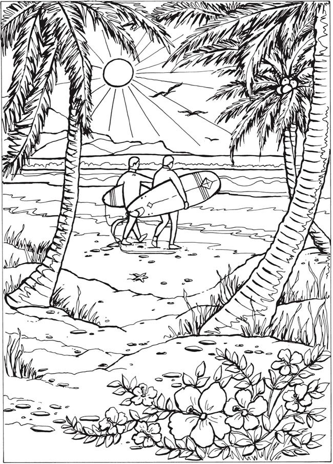 Adult Coloring Page From Creative Haven Summer Scenes Coloring Book Dover Publications