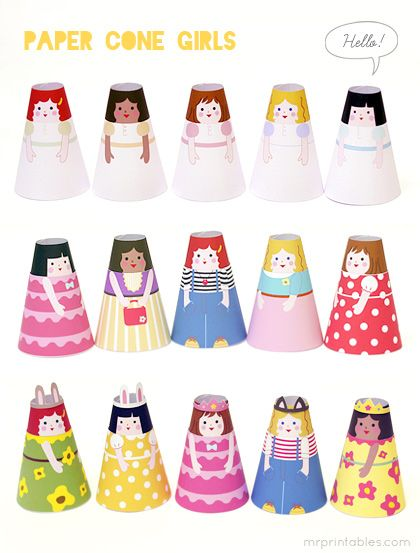 Paper Cone girls - printable 3D paper dolls with cute dresses you can swap : )