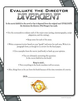 Evaluate the director activity: Divergent Movie and Book Comparison Activities - Aligned to the Common Core State Standards for grades 7-12