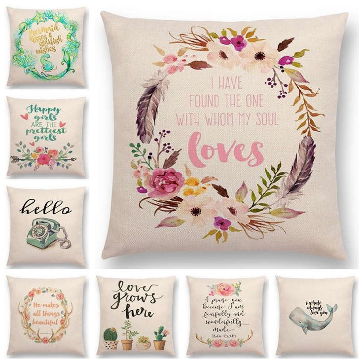 Hot Sale Flowers Garland Decorative Letter Brave Confidence Love Hope Forceful Warm Words Cushion Cover Pillow Case Christmas-in Cushion Cover from Home & Garden on Aliexpress.com | Alibaba Group