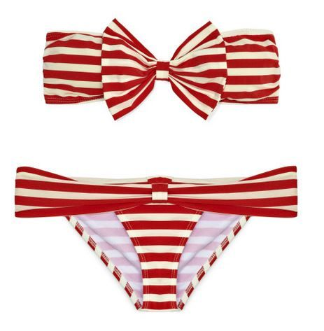 red and white stripe bikini with bow