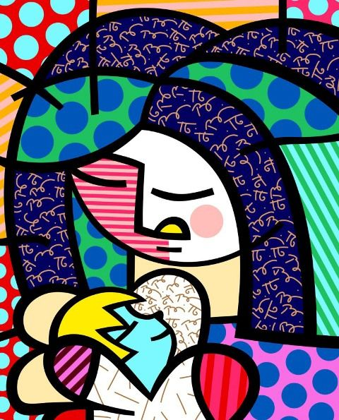 Romero Britto Motherly Love!!!! So love this image